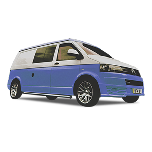 Blue VW camper hire