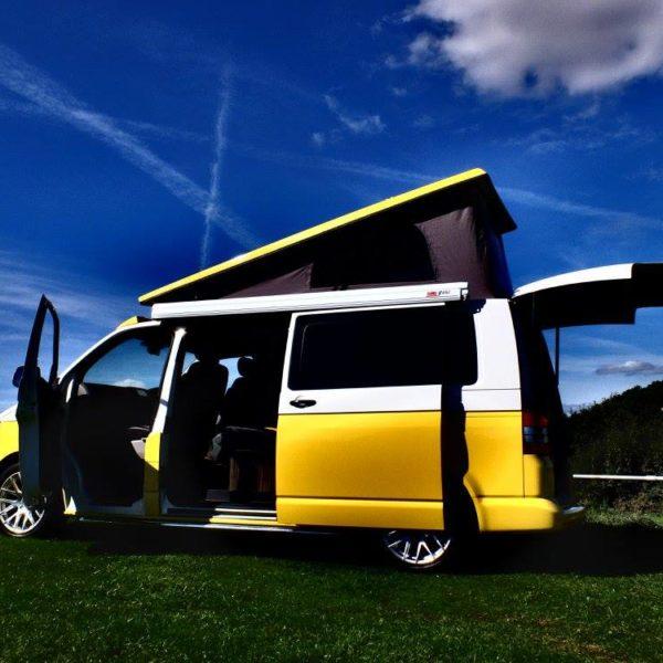 Hire yellow campervan