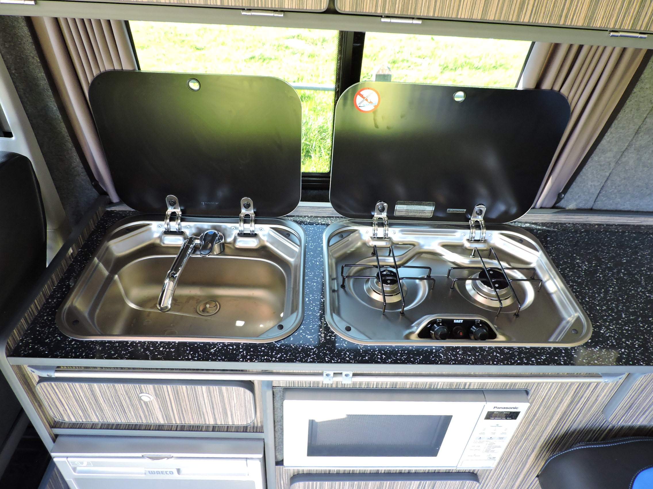 Cooking in VW campervan