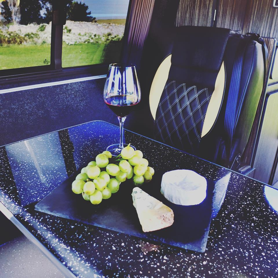 Campervan cheese and wine