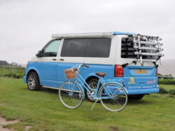 VW camper van for hire with bike rack